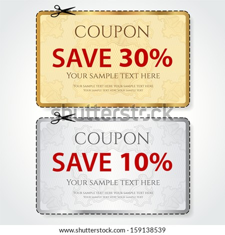 Sale Coupon, voucher, tag. Gold, silver template (vector design) with Guilloche pattern, frame, dotted line (dash line), red percent, scissors (cut off, cutting). Save money, get discount - stock vector