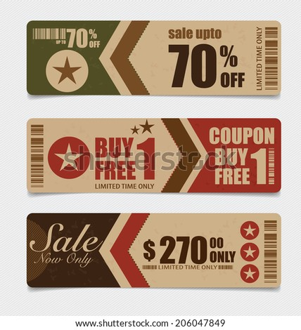 Sale Coupon, voucher, tag. Vintage Style template Design vector illustration. - stock vector