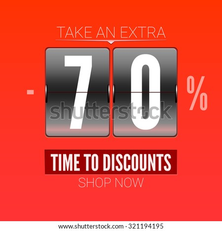 Sale design for coupon. Time to discounts advertising sales on analog flip clock. - stock vector