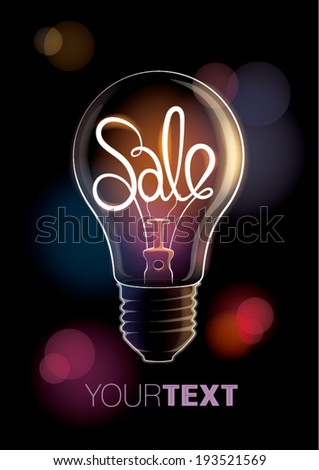 Sale design template with light bulb. Vector illustration - stock vector