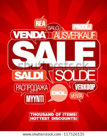 Sale design template written in many languages. - stock vector