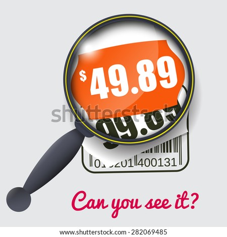 Sale Design with Magnifying Glass and Price Labels - stock vector
