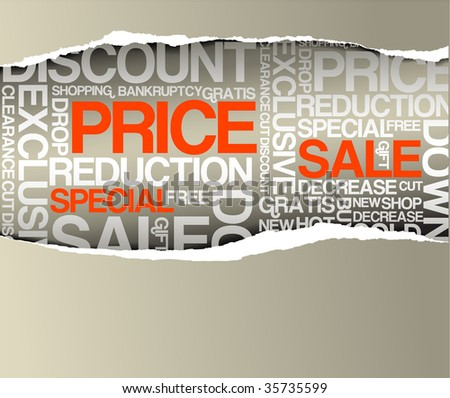 Sale discount advertisement - Hole with texts  (horizontal version) - stock vector