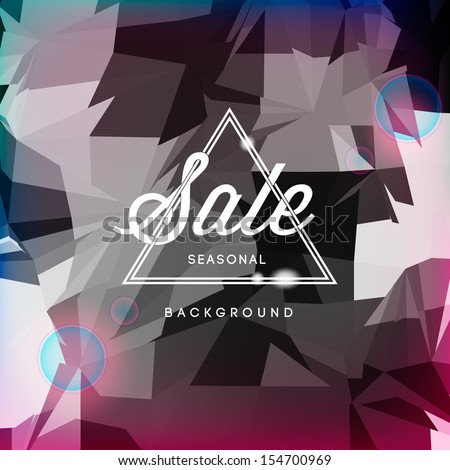 Sale, discount poster polygonal background, vector illustration.  - stock vector