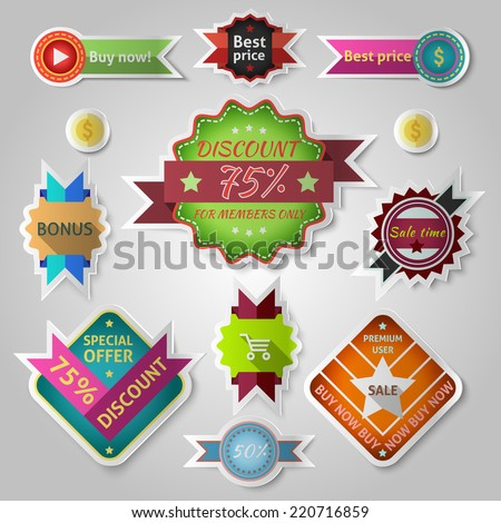 Sale discount vintage bonus discount promotion colored labels sticker set isolated vector illustration - stock vector