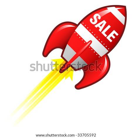 Sale e-commerce icon on red retro rocket ship illustration good for use as a button, in print materials, or in advertisements. - stock vector