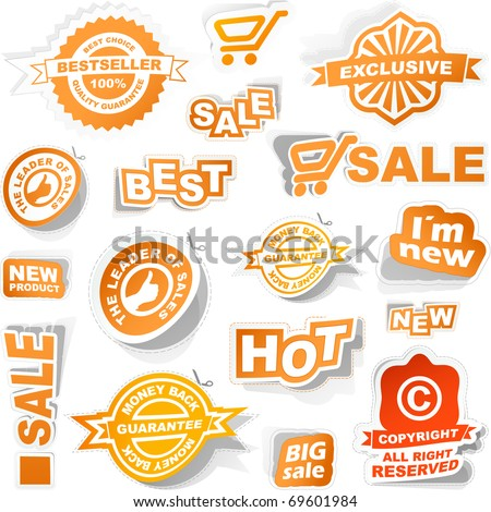 Sale elements - coupon set, special guarantee tags for banner, Modern best price stickers. Great collection - best, new, sale elements.