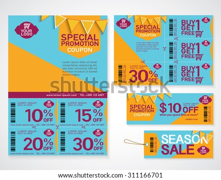 Sale flyer, promotions coupon or banner design with best discount offers, special price, Template background size A4, A5, Vector EPS10. - stock vector