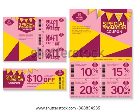 Sale Flyer Promotions Coupon Banner Design Vector 308854535 – Coupon Sheet Template