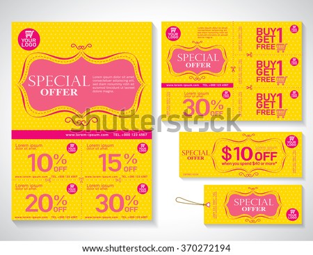 Sale Flyer Promotions Coupon Banner Design Stock Vector 370272194