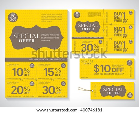 Sale flyer, promotions coupon or banner design with best discount offers, Template background size A4, A5, Valentine background, Vector EPS10. - stock vector