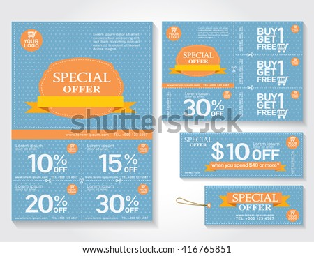 Sale Flyer Promotions Coupon Banner Design Stock Vector