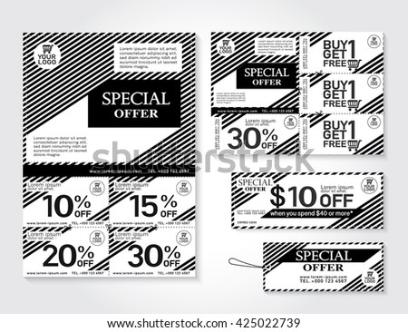 Sale flyer, promotions coupon or banner design with best discount offers. Template background size A4, A5, Back & White, Vector EPS10. - stock vector