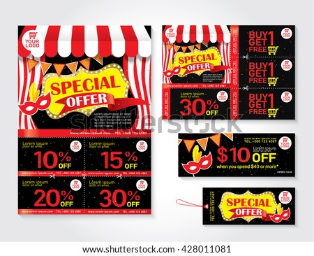 Sale flyer, promotions coupon or banner design with best discount offers, Template background size A4, A5, Vector EPS10. - stock vector