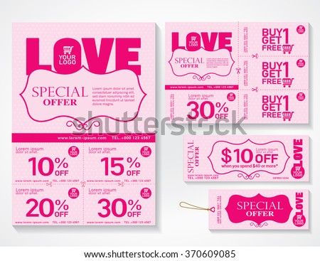 "Sale flyer, promotions coupon or banner design with best discount offers, Template background with word ""LOVE"" size A4, A5, Valentine background, Vector EPS10. - stock vector"