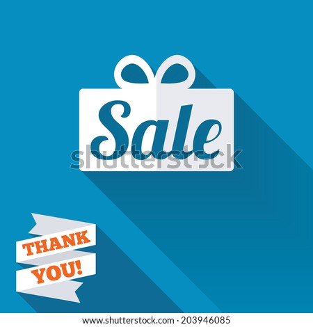 Sale gift box sign icon. Special offer symbol. White flat icon with long shadow. Paper ribbon label with Thank you text. Vector - stock vector