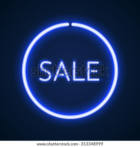 Sale glowing neon sign. Light vector background for your advertise, discounts and business