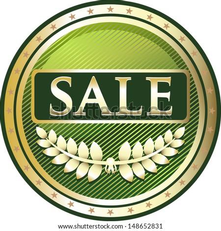 Sale Green Medal - stock vector