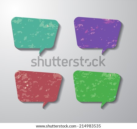 Sale hand drawn multicolored speech bubbles isolated on white. Vector illustration. Design elements for business events. Pastel crayons or pencil drawing. Can be used for business presentation design - stock vector