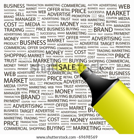 SALE. Highlighter over background with different association terms. Vector illustration. - stock vector