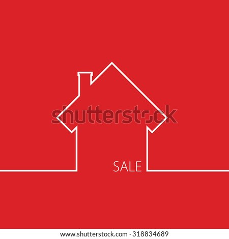 sale house in red vector illustration