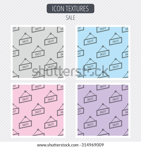 Sale icon. Advertising banner tag sign. Diagonal lines texture. Seamless patterns set. Vector - stock vector
