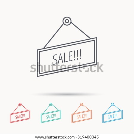 Sale icon. Advertising banner tag sign. Linear icons on white background. Vector - stock vector