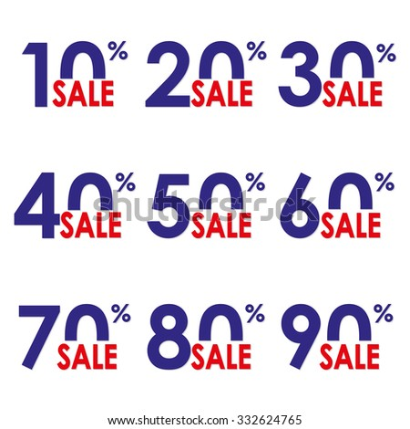Sale icon set. Discount price and sales design template. Shopping and low price symbols. 10,20,30,40,50,60,70,80,90% sale. Colorful vector illustration. - stock vector