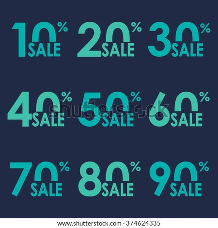 Sale icon set. Discount price and sales design template. Shopping and low price symbols. 10,20,30,40,50,60,70,80,90 percent sale. Vector illustration.  - stock vector