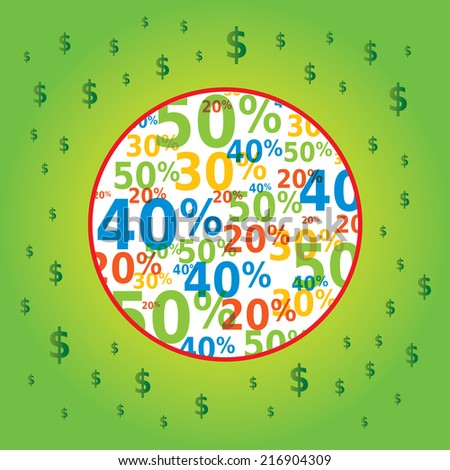 Sale Image in Circle with Dollar Icons - stock vector