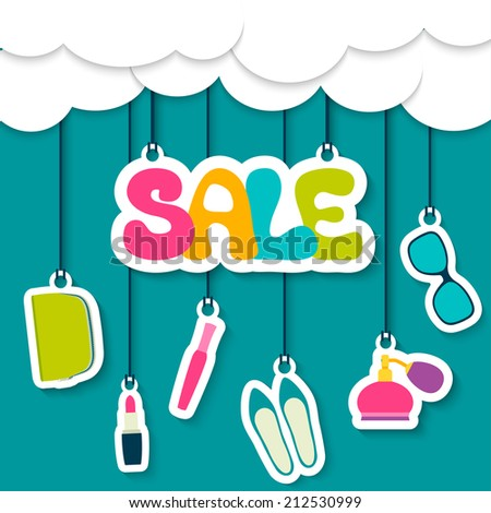 Sale label in the clouds. Women's cosmetics, shoes, accessories - stock vector