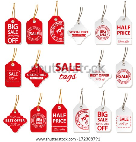 Sale labels big set in red and white colors.   - stock vector