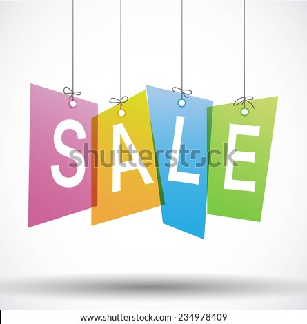 Sale labels hanging on strings - stock vector