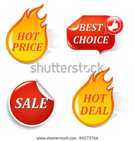 Sale Labels, Isolated On Black Background, Vector Illustration - stock vector
