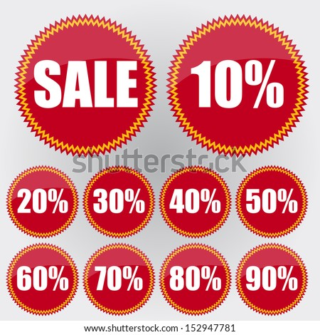 Sale labels red - stock vector