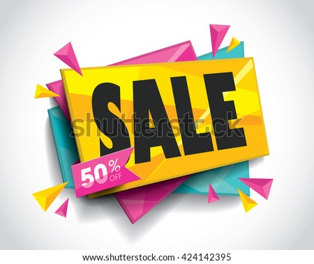 Sale layout design with abstract triangle elements. Vector illustration. - stock vector