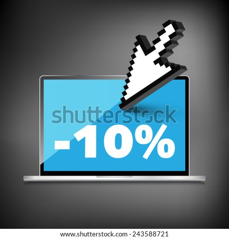 Sale, markdown, discount 10 percent on High-quality laptop screen. Reduced Prices. Special offer. Shopping badge with percentage discount. - stock vector
