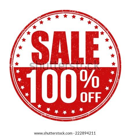 Sale 100% off grunge rubber stamp on white background, vector illustration - stock vector