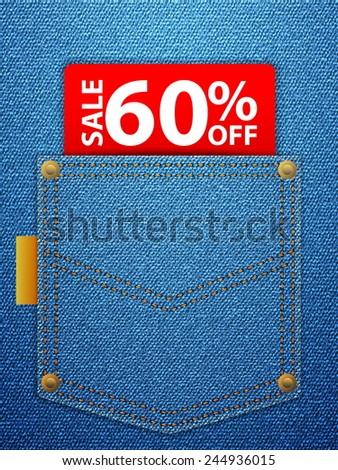 Sale off tag in blue denim pocket. - stock vector