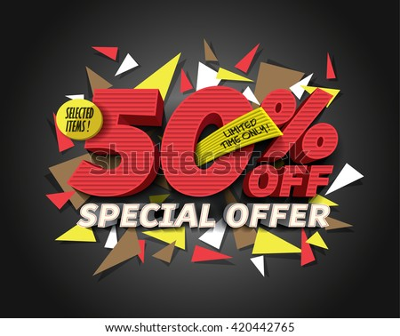 Sale 50% off with abstract triangle elements. Sale background. Special Offer. Sale poster. Sale vector. Vector illustration. - stock vector