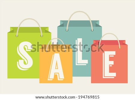 Sale offer. Shopping and marketing illustration. Sign written on a shopping bags. Flat design vector illustration.  - stock vector