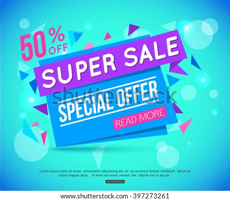 Sale Paper Banner over abstract background with bokeh.  Special Offer. 50% Off. Vector Illustration. - stock vector