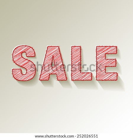 SALE paper symbol scribbles on white background