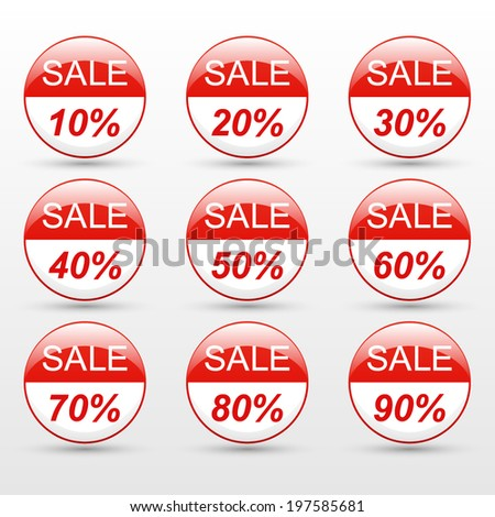 sale 10,20,30,40,50,60,70,80,90 percent on red label set (vector)