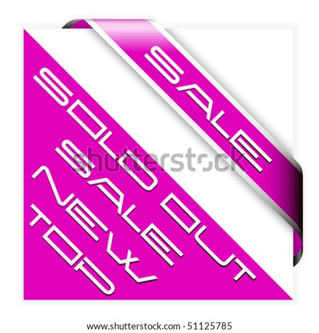 Sale pink corner ribbon with white border - stock vector