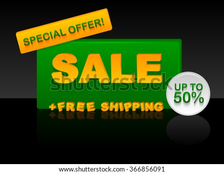 Sale plastic banner with volume text. Spring green and yellow color on black background. Special offer, up to 50%, free shipping.