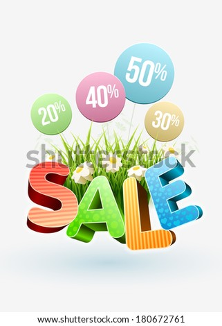Sale Poster design template. For spring and summer. Elements are layered separately in vector file.