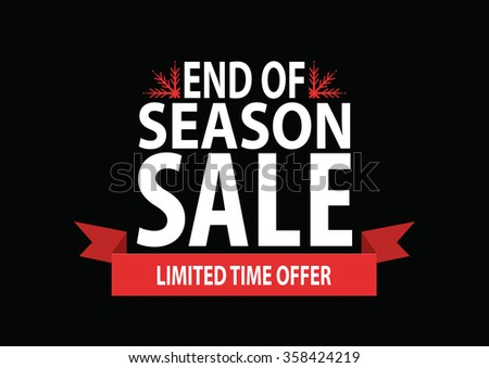 Sale poster; end of season sale with stylized snowflakes on black background, vector illustration - stock vector