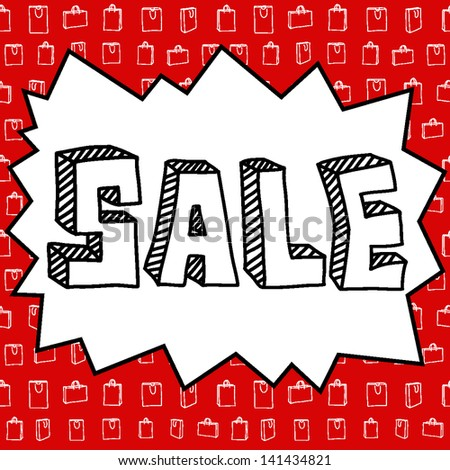 Sale poster in handwriting style and with seamless vector background