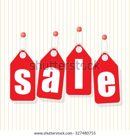 SALE poster labels with letters on red background - stock vector